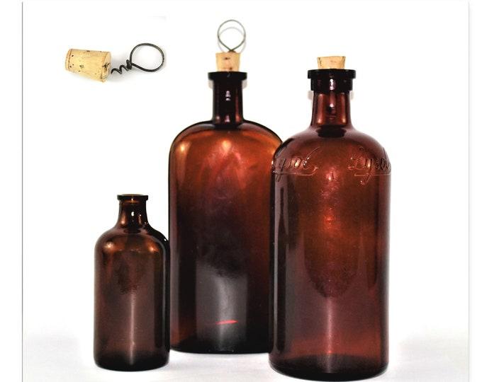 Antique Apothecary / Brown Glass Bottles / Antique Corkscrew / Apothecary Bottle