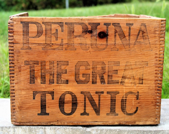 Antique Shipping Crate /  Peruna Tonic / Wooden Shipping Crate