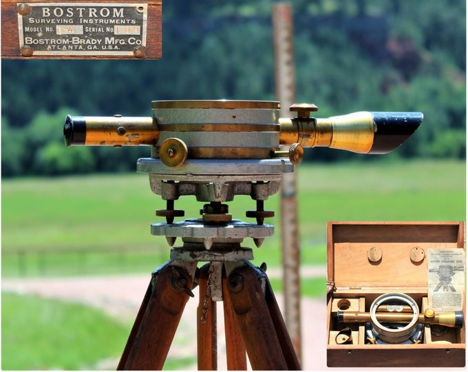 Surveyors Tool / 1940s Surveying Kit / 1940s Bostrom Transit and Tripod