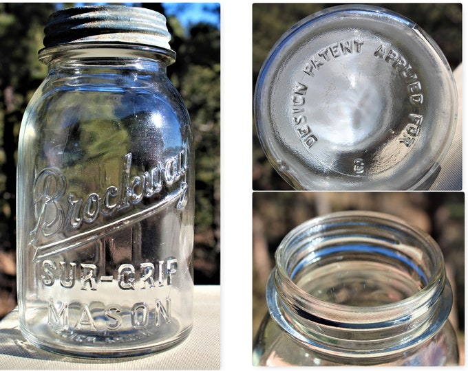 1930s Brockway Sur-Grip Mason Jar, Quart Size, Fruit Jar