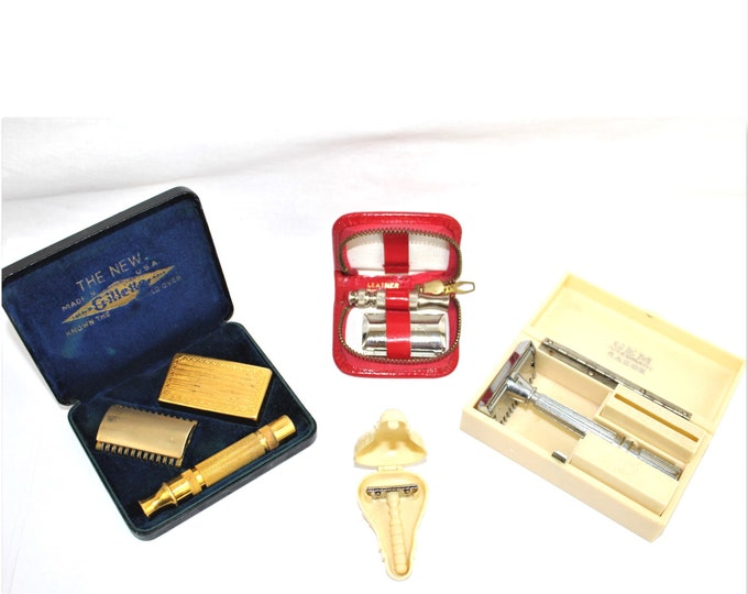 Vintage Barber / Collection of Travel Shaving Razors /  Shaving Collectibles