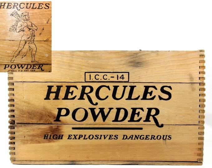 Antique 1920s Hercules Powder Wood Shipping Crate, Gun Powder Crate