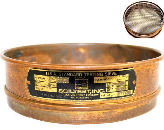 Vintage Soiltest Brass Sifting Sieve, Mining Equipment