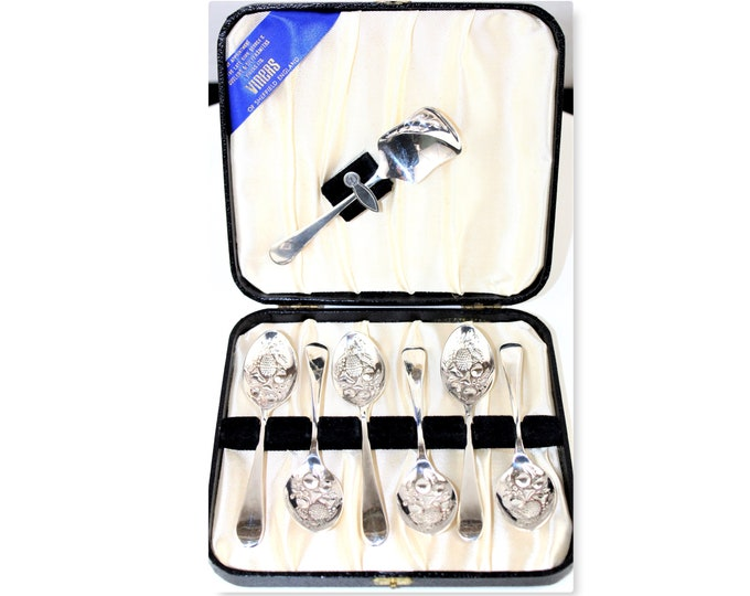 Viners Dessert Spoon Set in leather Covered Storage Case, Sheffield England