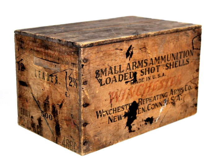 Antique Winchester Repeating Arms Company Wooden Crate, Wood Shipping Crate