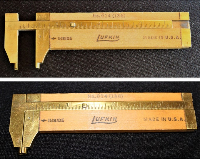 "1940s  LUFKIN No.014 (136) 4"" Wooden Slide Caliper Rule, Diameter Measuring"