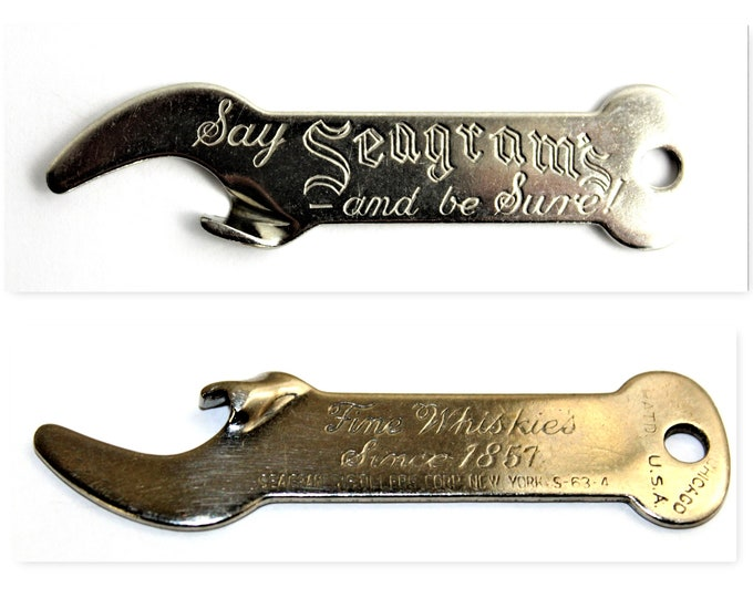 Vintage Keychain Style Bottle Opener, Seagrams Whiskies, Whiskey Collectibles