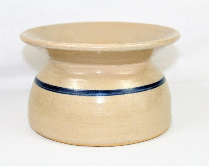 Vintage Stoneware Spittoon / Cuspidor / Blue Cobalt Stripe