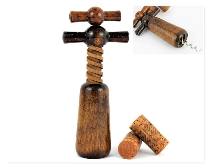 Vintage Corkscrew,  Wooden Double Action Corkscrew, Mid-Century Barware, Wine Opener