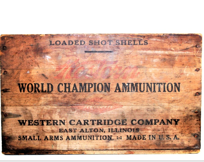 Antique Western Cartridge Co, Wood Shipping Crate, Wood Ammo Crate