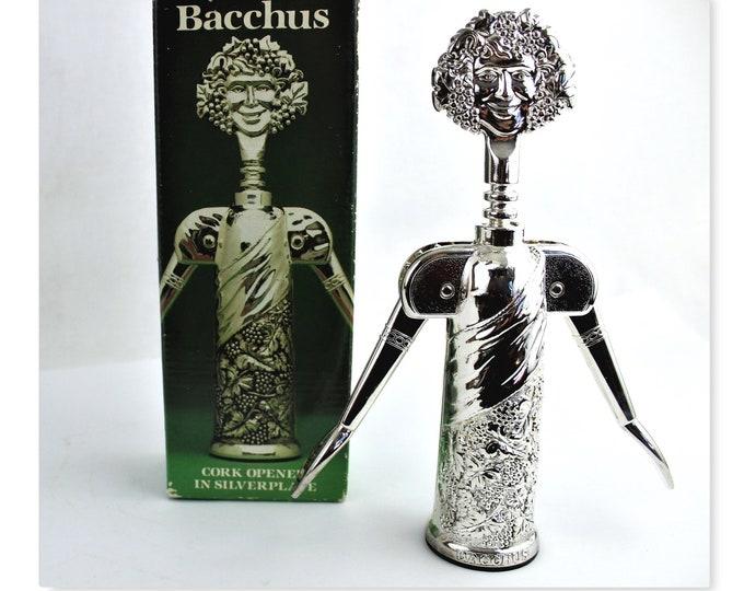 Vintage Italian Godinger Bacchus Silver-Plate Corkscrew, Bacchus the Roman God of Agriculture, Wine and Fertility