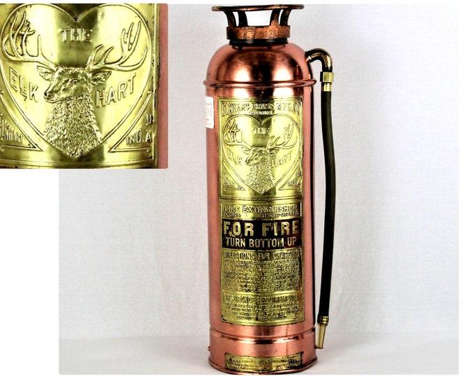 Antique Elkhart Brass Fire Extinguisher, Firefighting Memorabilia