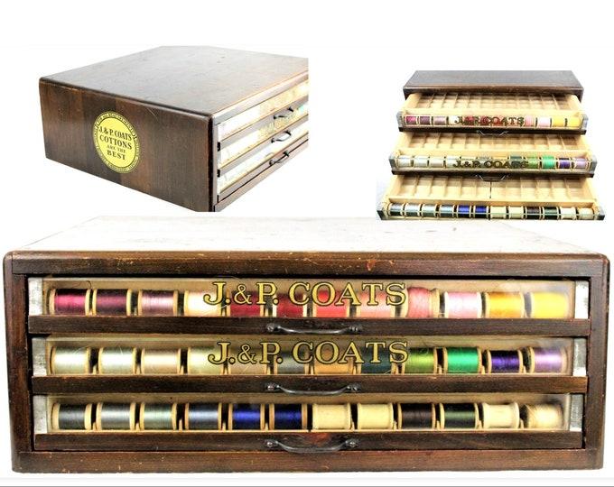 Antique Display Case, Thread Cabinet, J P Coats Thread Spool Cabinet, From Glen Lake Sanatorium