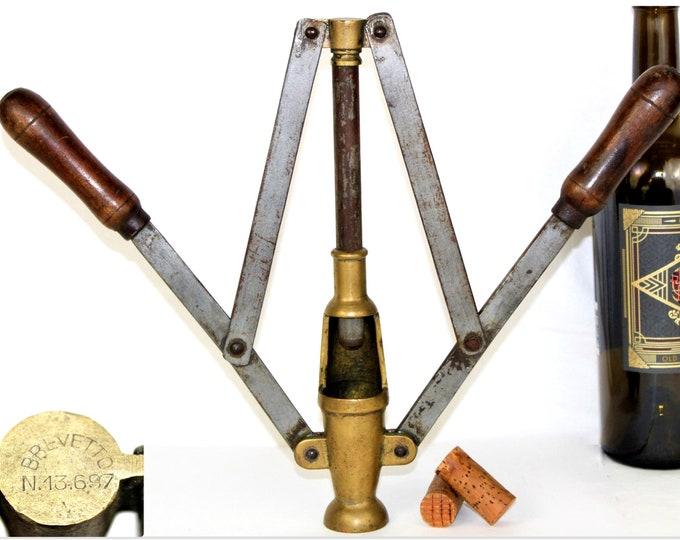Antique Wine Tool, Italian Double Lever Wine Bottle Corker, Wine Making Tool
