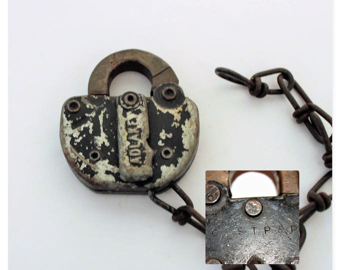 Adlake  Padlock, Chicago, Milwaukee, St. Paul and Pacific Railroad Lock, Switch Lock, Railroad Memorabilia