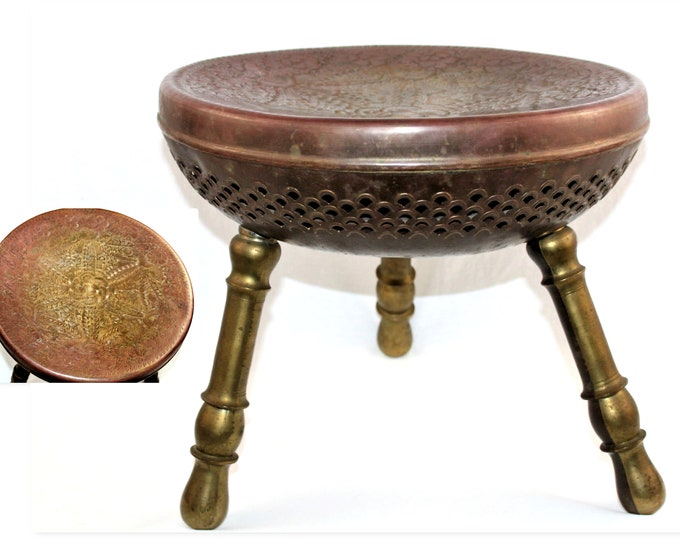 Vintage Moroccan Brass Footstool