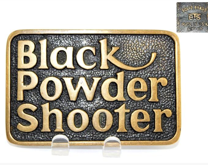 Vintage Mens Belt Buckle / 1978 BTS Brass Works / Black Powder Shooter