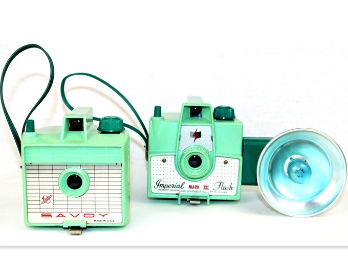 Vintage 1950 Mint Green Savoy 620 and Imperial Mark XII Cameras