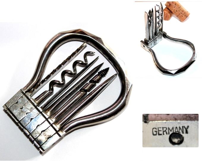 Antique German Folding Bow Multi-Tool, Corkscrew, Wine Bottle Opener