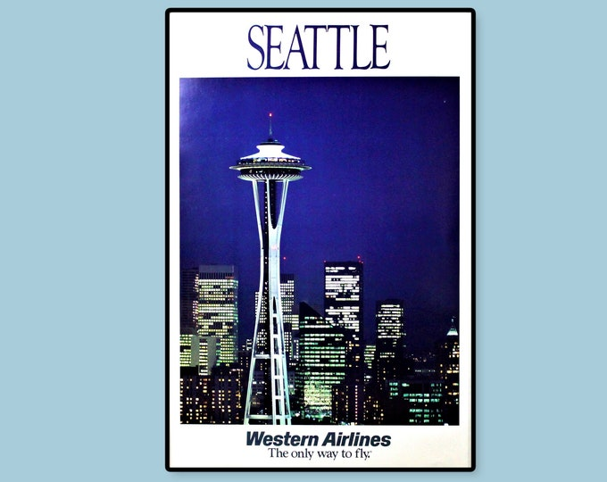 Vintage 1970s Western Airlines Travel Poster Featuring the Seattle Skyline, Unframed