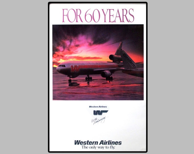 Vintage 1985, Western Airlines 60th Anniversary Poster, Unframed