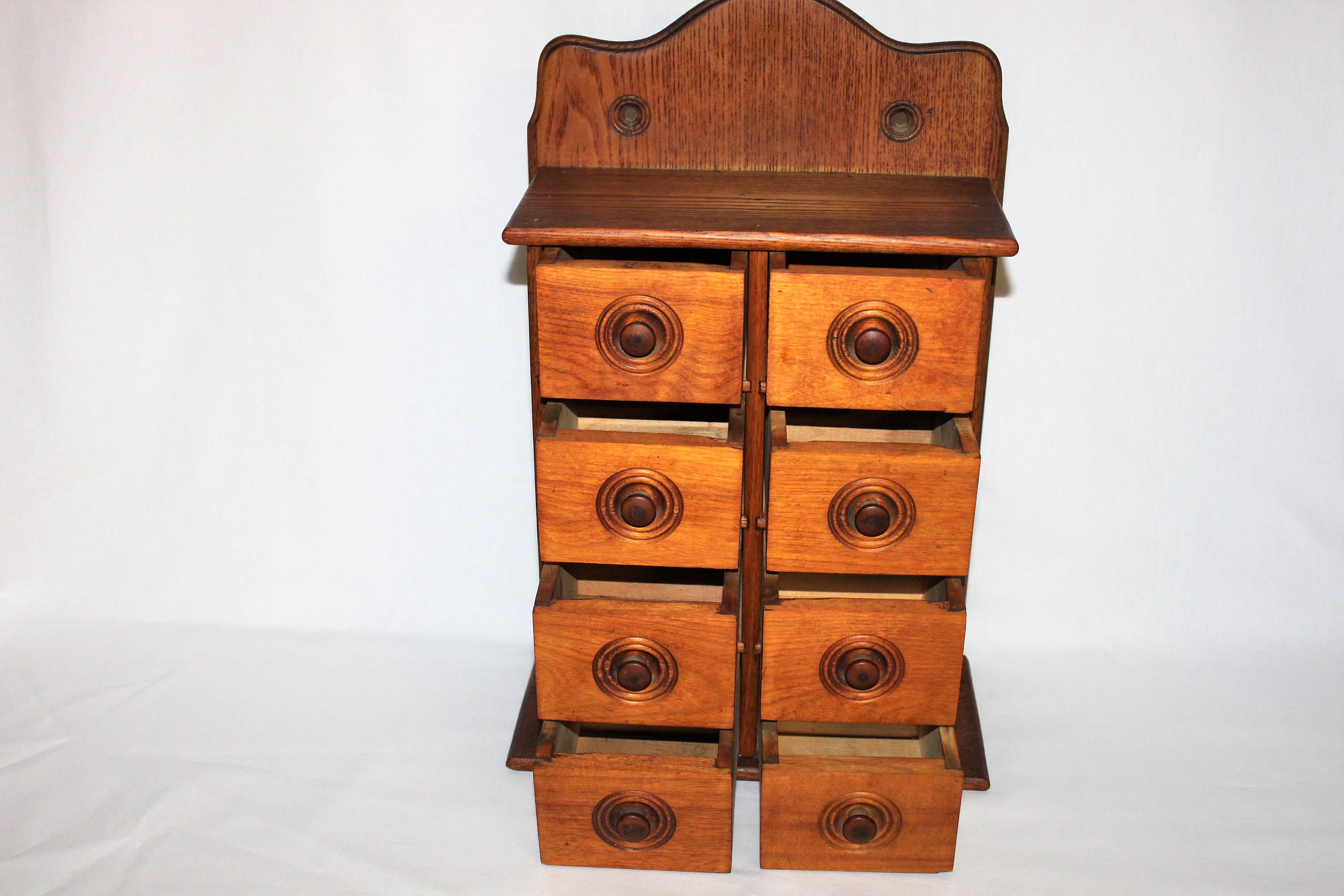Vintage Eight Drawer Wood Spice Box Spice Cabinet