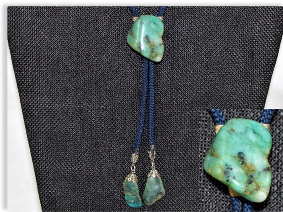 Vintage Turquoise Stone Western Bolo Tie, Western