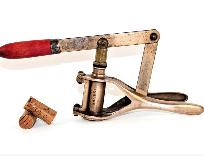 Antique Wine Tool, French Sanbri, Wine Bottle Corker, Wine Bottling Tool