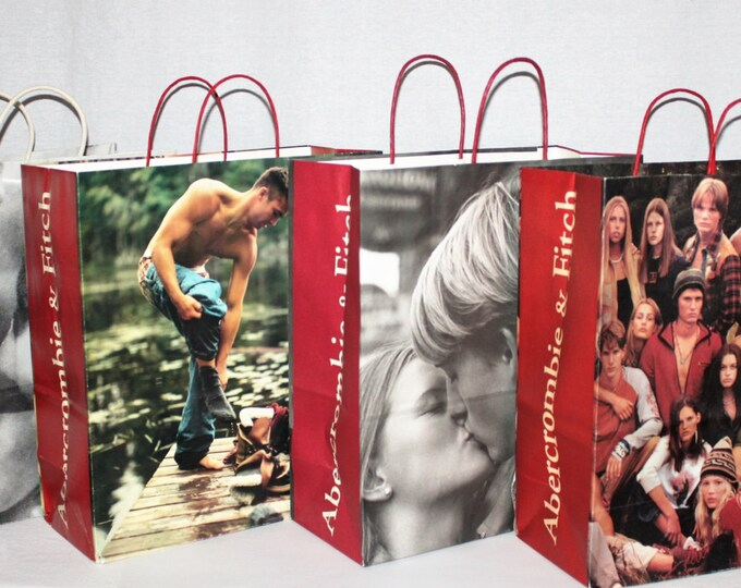 Vintage Shopping Bag, Four Abercrombie and Fitch Shopping Bags, Teenager Decor