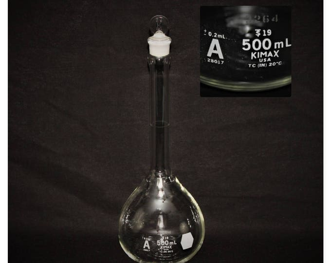 28017 500ml Kimax Class A Volumetric Flask S/N 3264 with Ground Glass Penny Head Stopper
