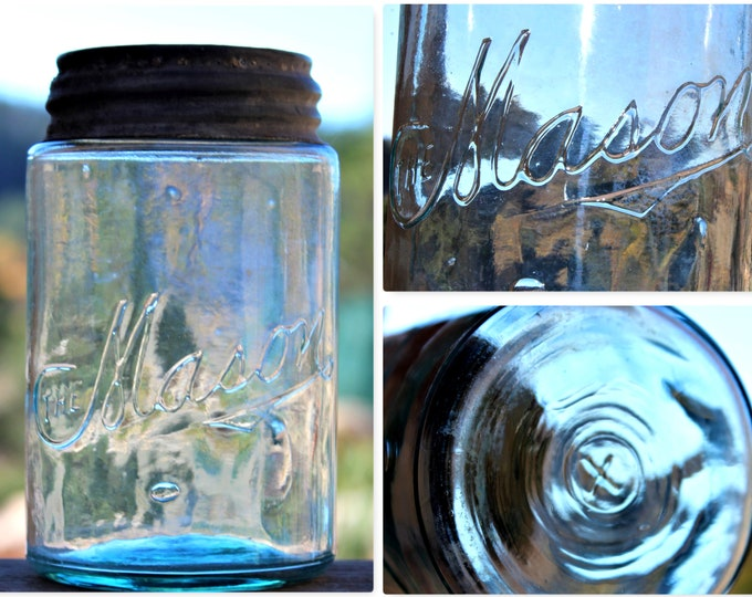 Antique 1907 The Mason Fruit Jar, Antique Canning Jar,  Coffeyville Kansas, Antique Glass Jar