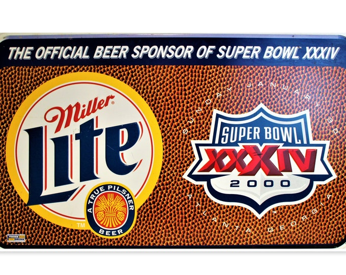 Vintage 2000 Miller Lite Super Bowl Advertising Sign, Super Bowl Sign, Breweriana