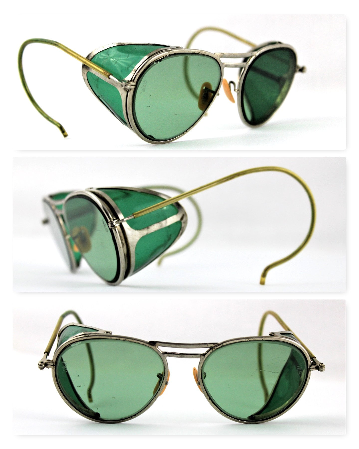 6f312939f40aa Vintage 1940s Willson Green Aviator glasses