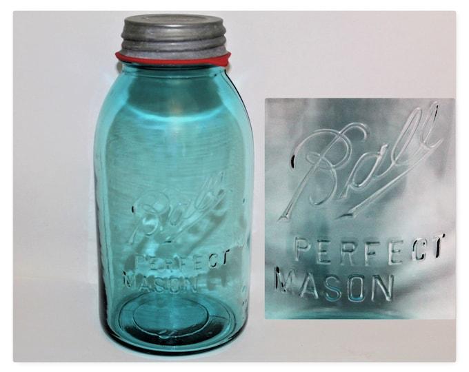 Antique Fruit Jar, Ball Perfect Mason Half Gallon Blue Glass Fruit Jar