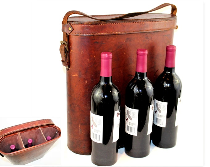 Antique Leather Wine Travel Tote, Leather Wine Tote