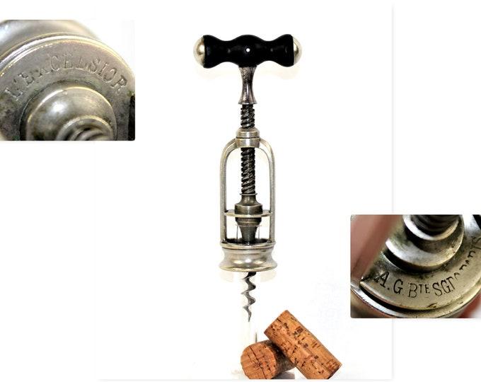 Antique 1880s French Corkscrew, Armand Guichard's L'Excelsior, Wine Bottle Opener