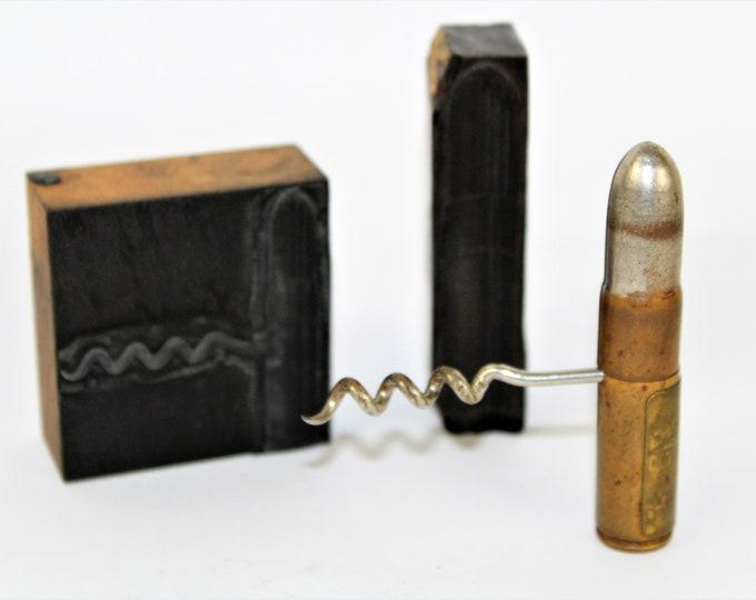 Two Antique Letterpress Print Blocks, Corkscrew Printers Blocks, Letterpress Blocks