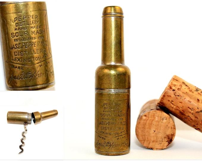 Antique Mini Bottle Advertising Corkscrew, Pepper Distillery of Lexington Kentucky