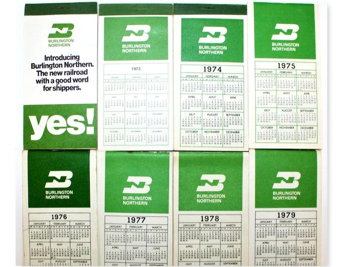 Collection of 1970s Burlington Northern Railroad Pocket Calendar and Notepad, Railroadiana