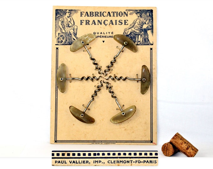 Antique French Store Display with Corkscrews, Wine Bottle Openers, Winery Decor