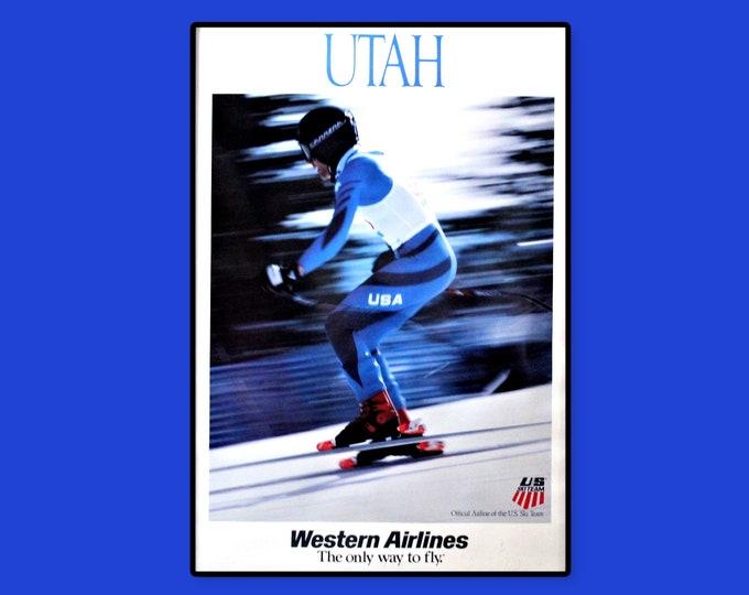 Vintage 1970s Western Airlines Travel Poster for Utah, Unframed