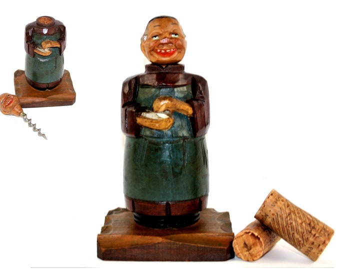 1940s Italian ANRI Hand Carved Barware, The Cheerful Monk Corkscrew, Wine Bottle Opener