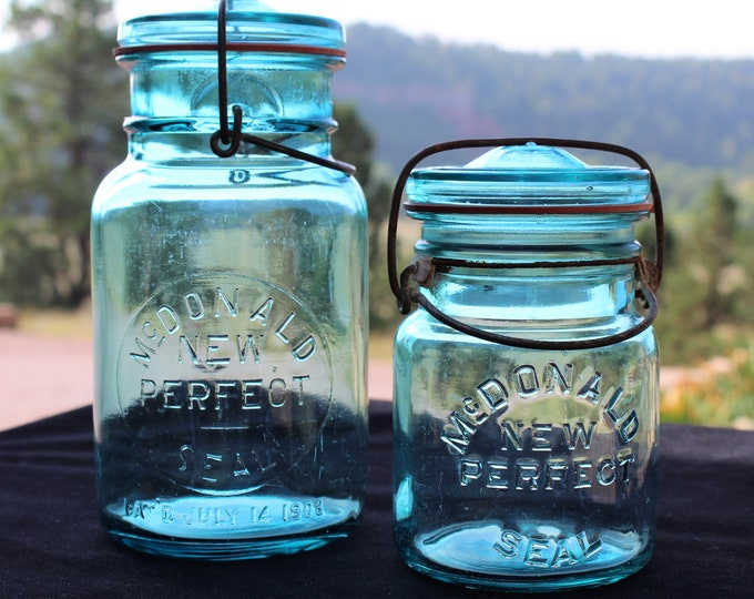 Pair of McDonald New Perfect Seal Fruit Jars, Blue Fruit Jars, Blue Glass Jar