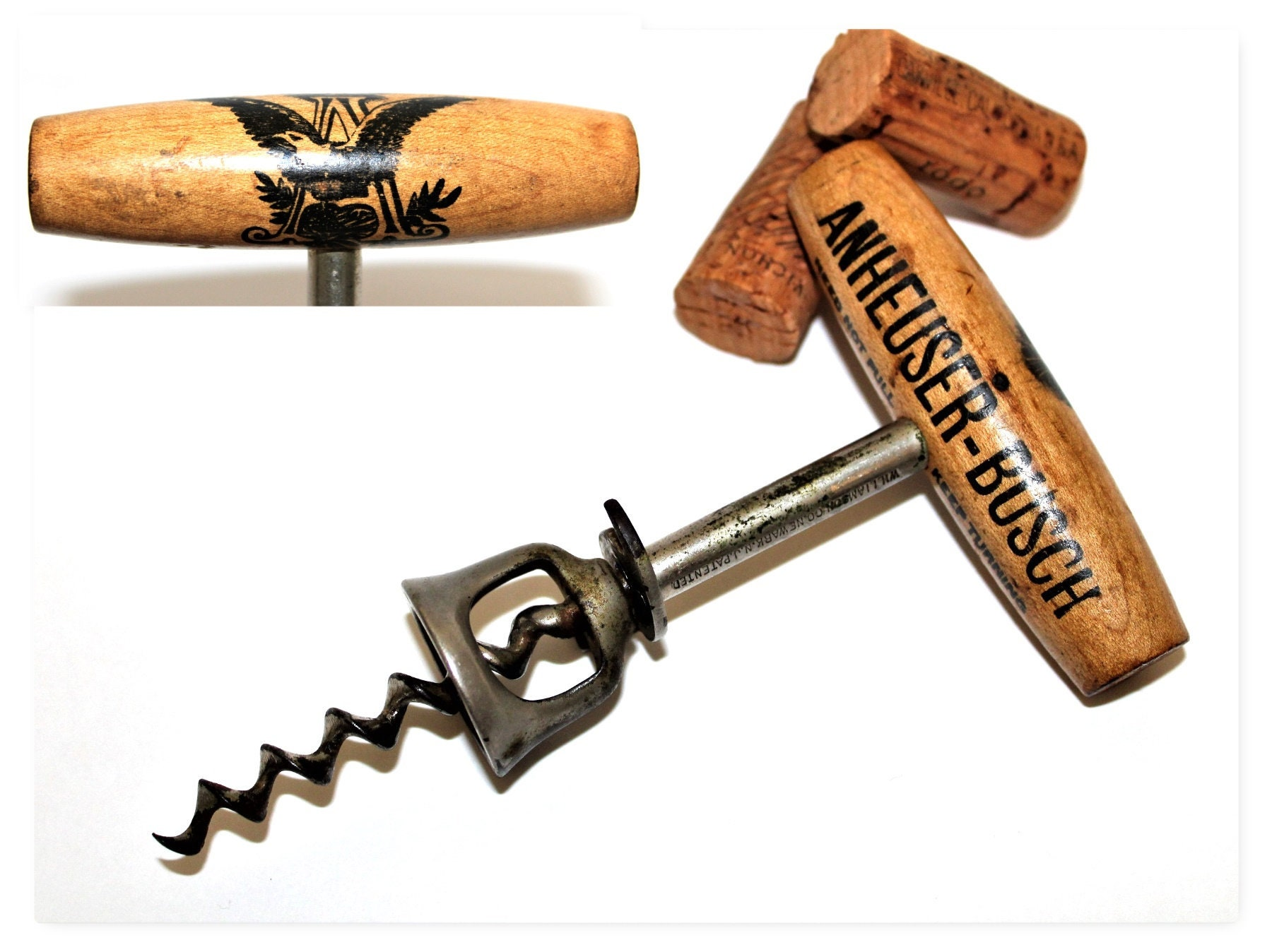Antique Corkscrew, 1897 Anheuser Busch Beer Corkscrew