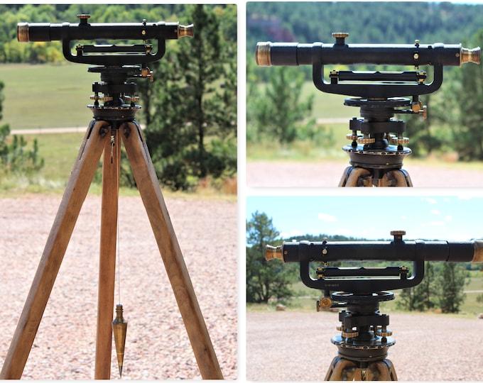 Surveying Transit and Wooden Tripod, Surveyors Transit, Land Surveyor