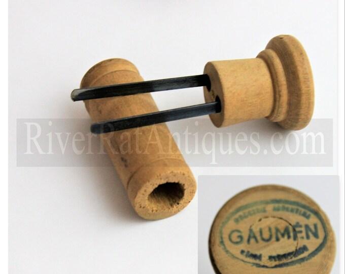 Vintage Industrial Argentina Wooden Gaumen Prong Puller, Cork Remover, Cork Puller