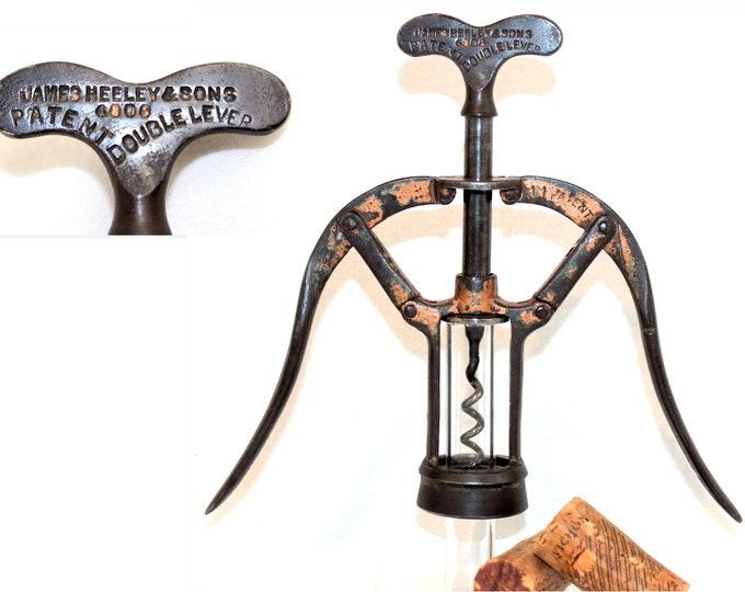 Antique 1888, James Heeley & Sons, Patent 6006, A1 Double Lever Corkscrew, Wine Bottle Opener