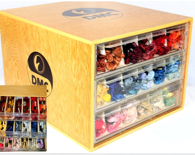 DMC Embroidery Thread Wood Cabinet with 3 Drawers Filled With Vintage Embroidery Thread Skeins