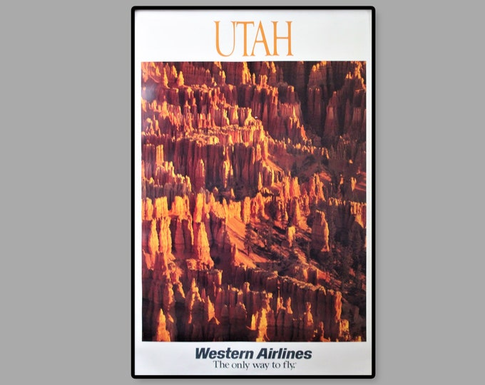 Vintage 1970s Western Airlines Travel Poster Featuring Bryce Canyon Utah, Unframed