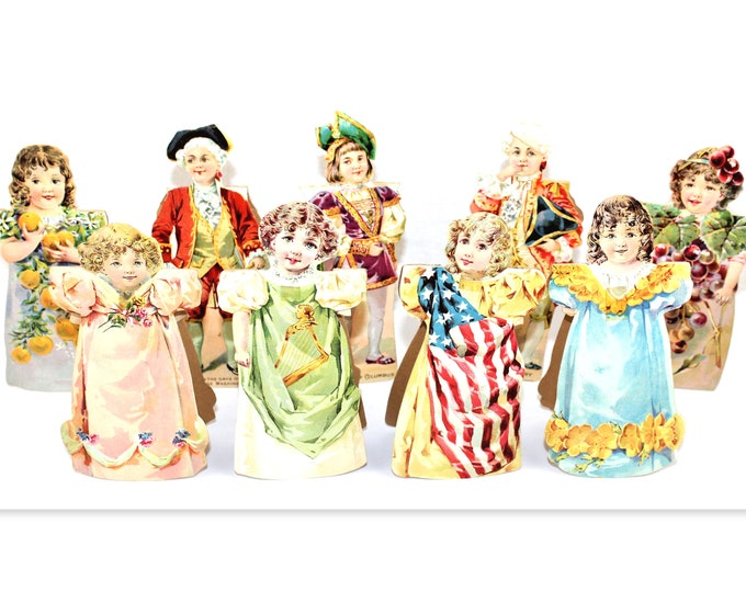 Antique 1895, Barbour's Irish Flax Threads Paper Dolls, Chromolithographed Paper Dolls